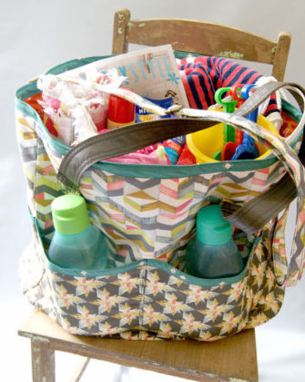 Fully loaded orange and green-themed Summer Lovin' Beach Tote - Andrie Designs