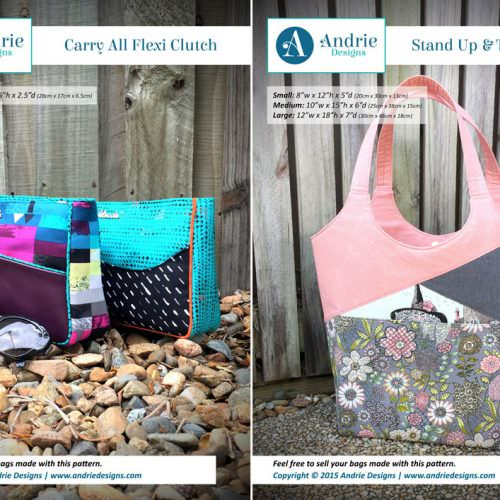 Carry All Flexi Clutch & Stand Up & Tote Notice Pattern Set - Andrie Designs