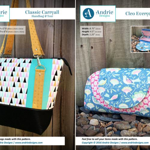 Classic Carryall Handbag & Tote & Cleo Everyday Wallet Pattern Set - Andrie Designs