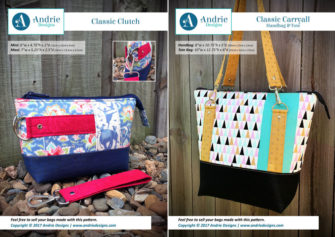 Classic Clutch & Classic Carryall Handbag & Tote Pattern Set - Andrie Designs