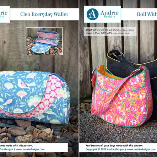 Cleo Everyday Wallet & Roll With It Tote Pattern Set - Andrie Designs