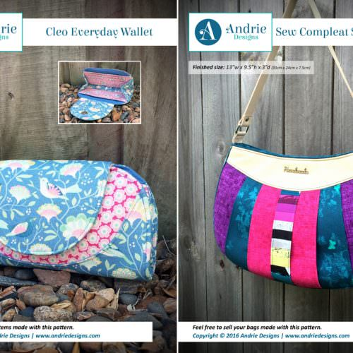 Cleo Everyday Wallet & Sew Compleat Shoulder Tote Pattern Set - Andrie Designs