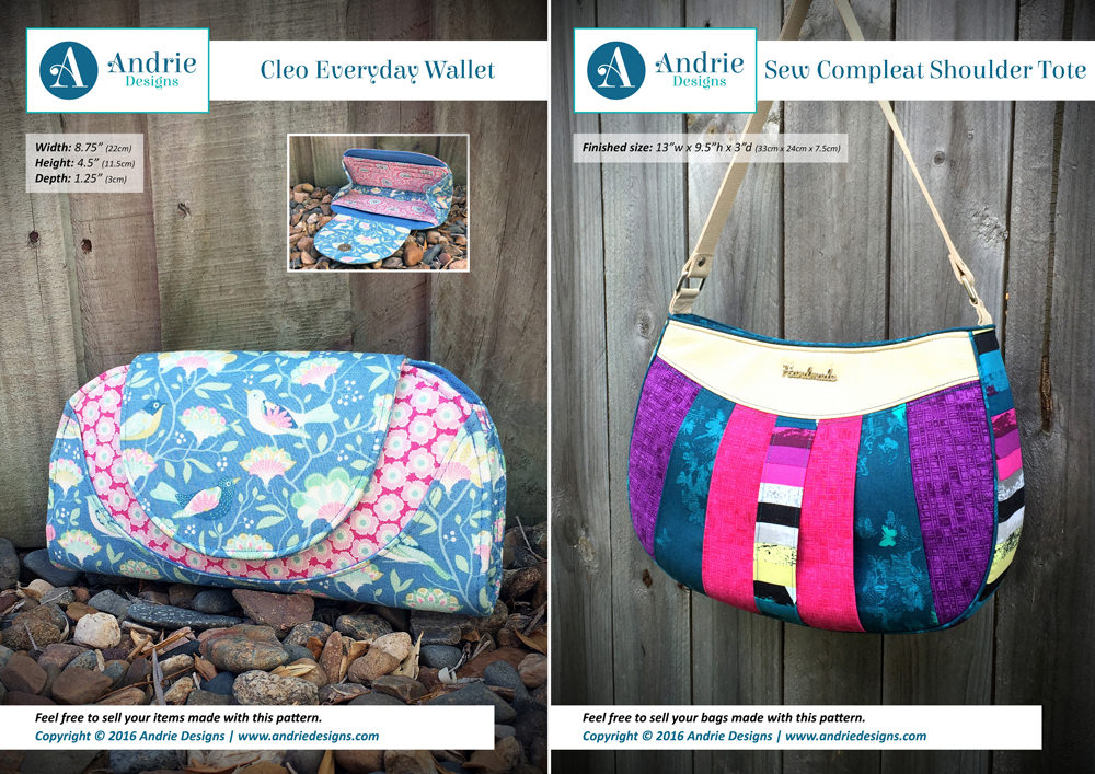 Cleo Everyday Wallet/Sew Compleat Shoulder Tote SET - Andrie Designs