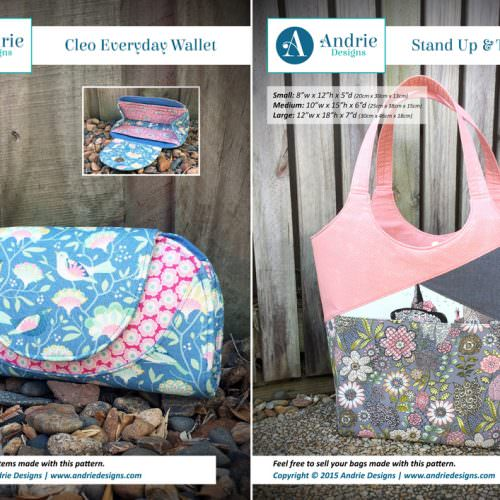 Cleo Everyday Wallet & Stand Up & Tote Notice Pattern Set - Andrie Designs