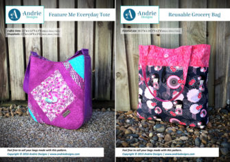 Feature Me Everyday Tote & Reusable Grocery Bag Pattern Set - Andrie Designs