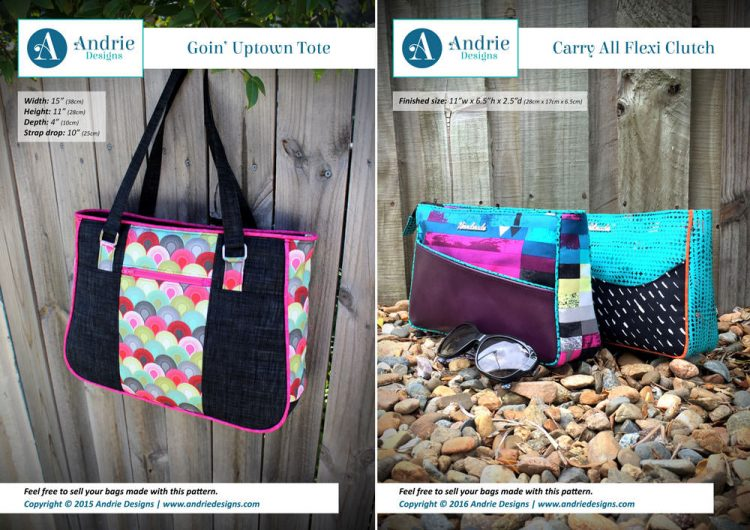 Goin' Uptown Tote & Carry All Flexi Clutch Pattern Set - Andrie Designs