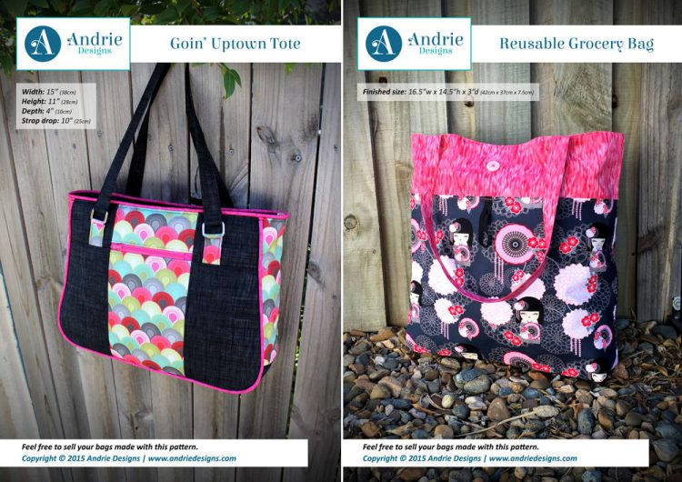 Goin' Uptown Tote & Reusable Grocery Bag Pattern Set - Andrie Designs