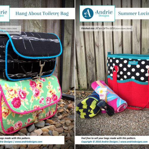 Hang About Toiletry Bag & Summer Lovin' Beach Tote Pattern Set - Andrie Designs