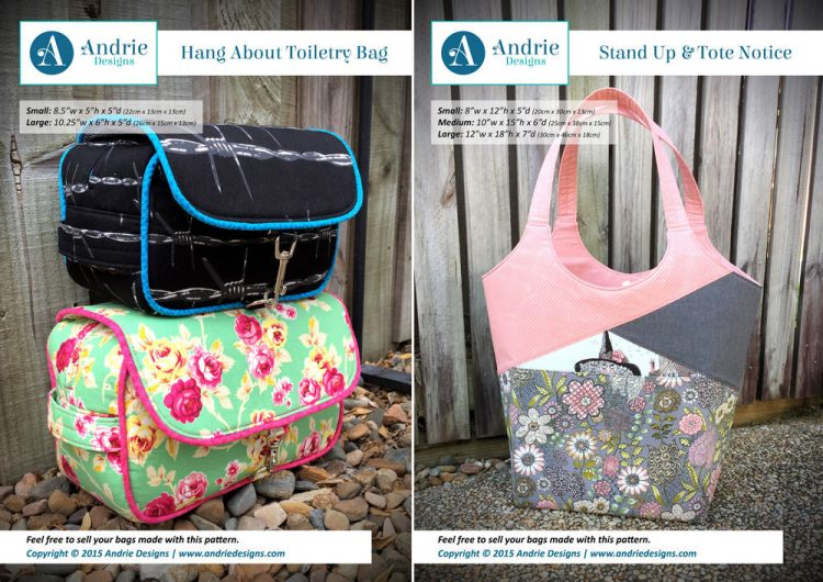Hang About Toiletry Bag & Stand Up & Tote Notice Pattern Set - Andrie Designs