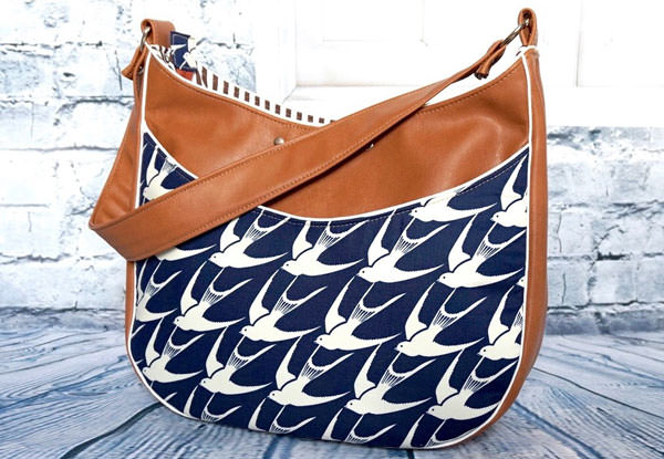 Navy and leather Roll With It Tote - Andrie Designs