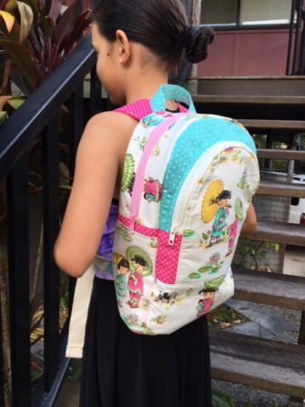 Love this pink, aqua and oriental Adventure Time Backpack - Andrie Designs