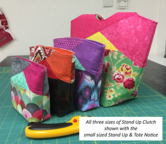 Size comparison with the small sized Stand Up Tote - Stand Up Clutch - Andrie Designs