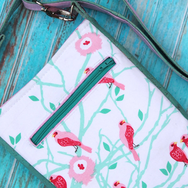 So effective! Back view of the pink and green Mini Shades Pouch - Andrie Designs