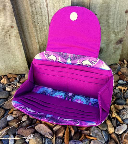 Inside view of the Tula Pink-themed Cleo Everyday Wallet - Andrie Designs