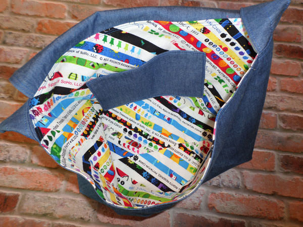 Inside shot of the Colourful Selvages Good-To-Go Messenger Bag - Andrie Designs