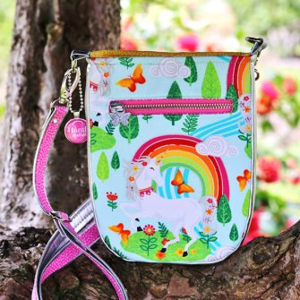Back of the rainbow unicorn Mini Shades Pouch - Andrie Designs