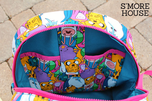 Inside of the Adventure Time fabric Adventure Time Backpack - Andrie Designs