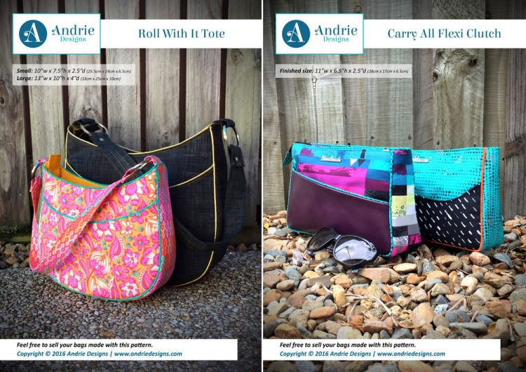 Roll With It Tote & Carry All Flexi Clutch Pattern Set - Andrie Designs