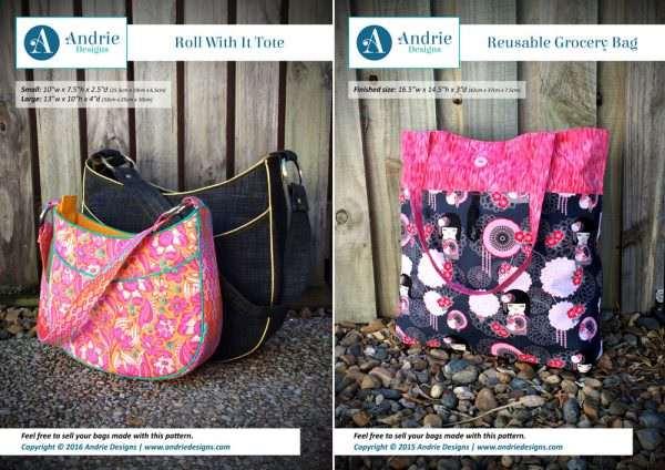 Roll With It Tote & Reusable Grocery Bag Pattern Set - Andrie Designs