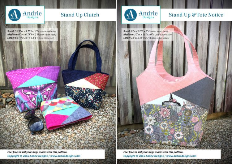 Stand Up Clutch & Stand Up & Tote Notice Pattern Set - Andrie Designs