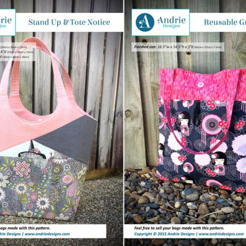 Stand Up & Tote Notice & Reusable Grocery Bag Pattern Set - Andrie Designs