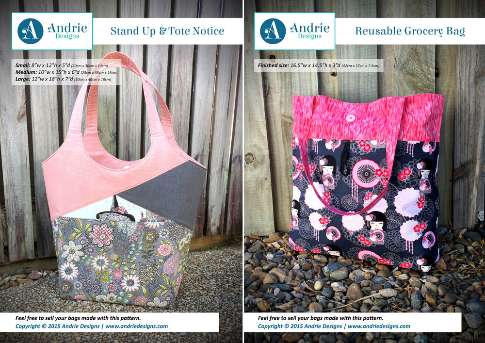 f4ac276eae Stand Up & Tote Notice & Reusable Grocery Bag Pattern Set - Andrie Designs