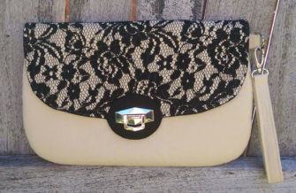 Lace and beige The Statement Clutch - Andrie Designs