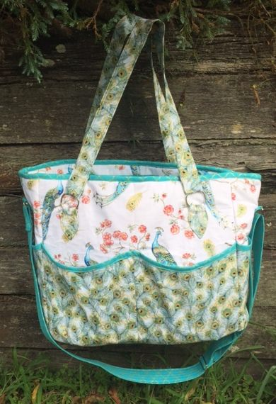 Teal and peacocks Summer Lovin' Beach Tote - Andrie Designs