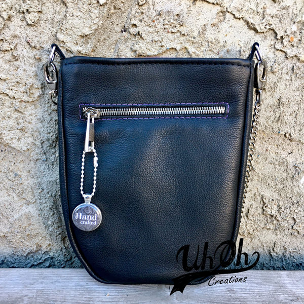 Back of the purple leather plain front Mini Shades Pouch - Andrie Designs
