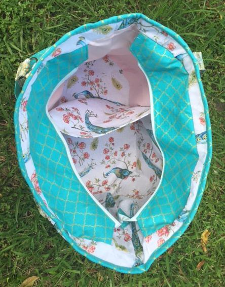 Inside the teal and peacocks Summer Lovin' Beach Tote - Andrie Designs