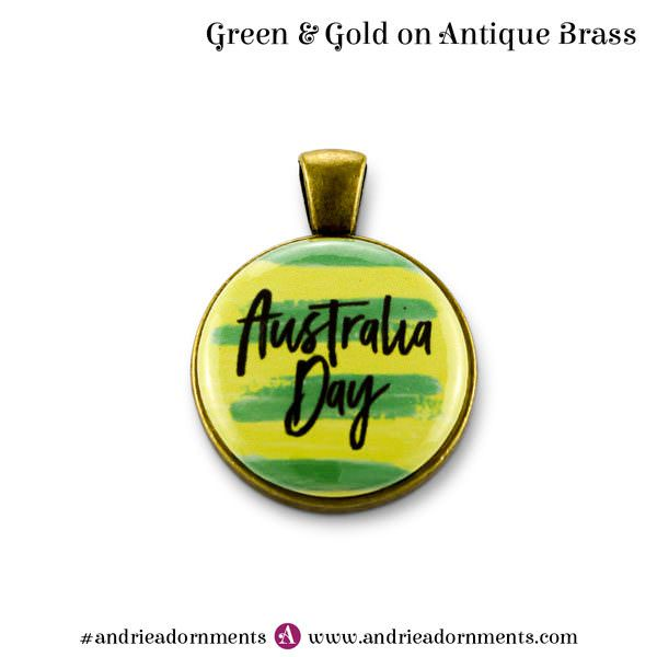 Antique Brass Green & Gold - Australia Day 2018 - Andrie Adornments