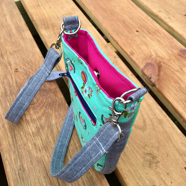 Top view of the mint and grey Mini Shades Pouch - Andrie Designs