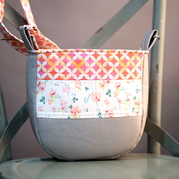 Back of the floral and vinyl Summertime Sling - Andrie Designs