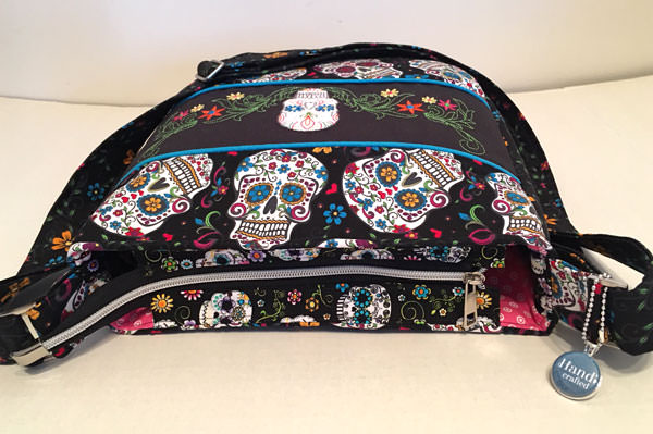 Top zipper of the sugar skulls Summertime Sling - Andrie Designs