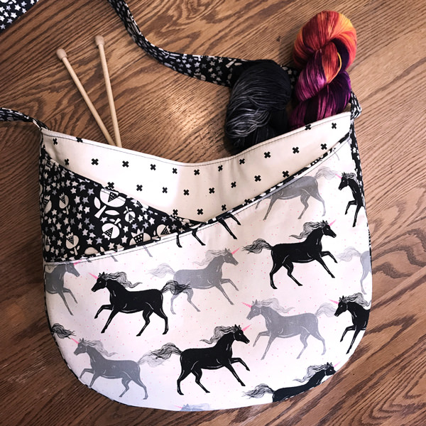 Black and white unicorns S & S Tote - Andrie Designs