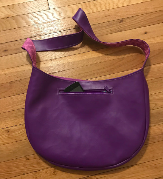 Zipper pocket on the purple and textured S & S Tote - Andrie Designs