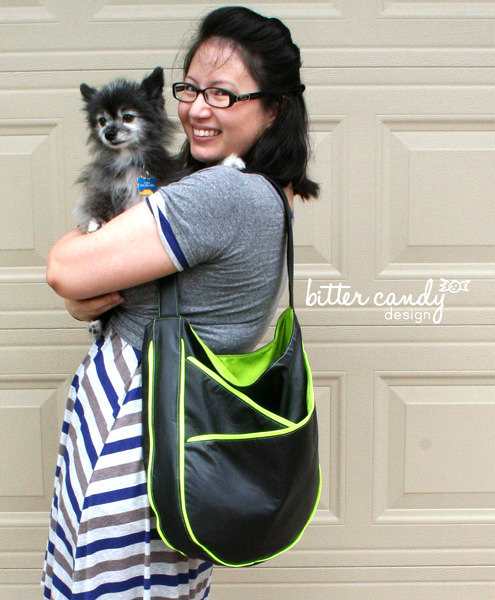 Black with lime contrast S & S Tote - Andrie Designs