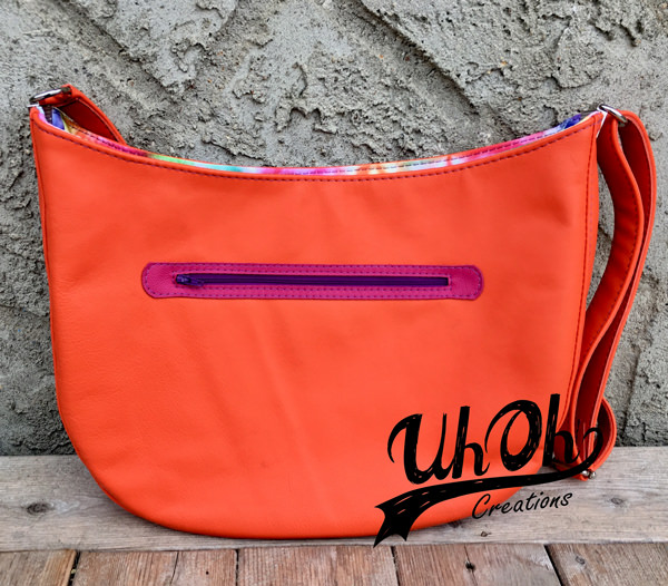 Rear view of the fun and vibrant S & S Tote - Andrie Designs