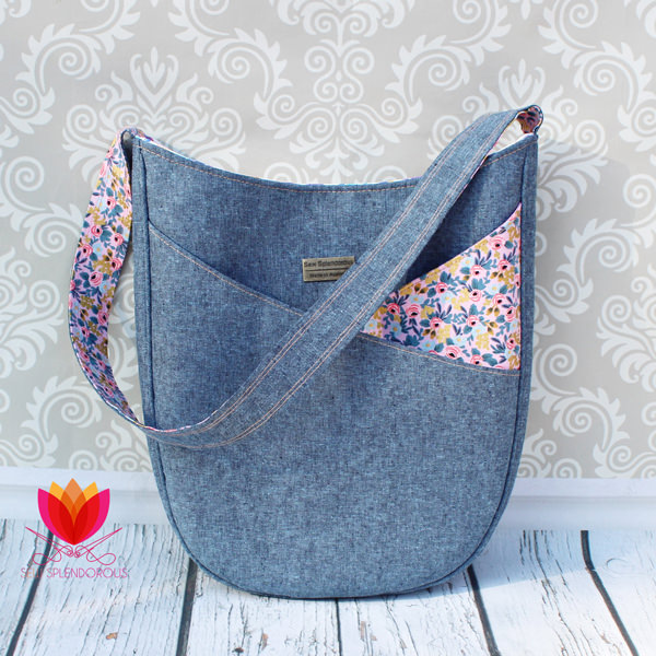 Beautiful denim and floral S & S Tote - Andrie Designs