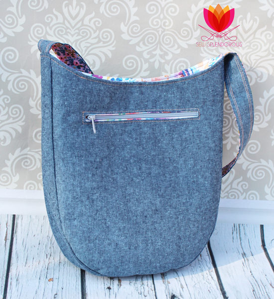 Back view of the beautiful denim and floral S & S Tote - Andrie Designs