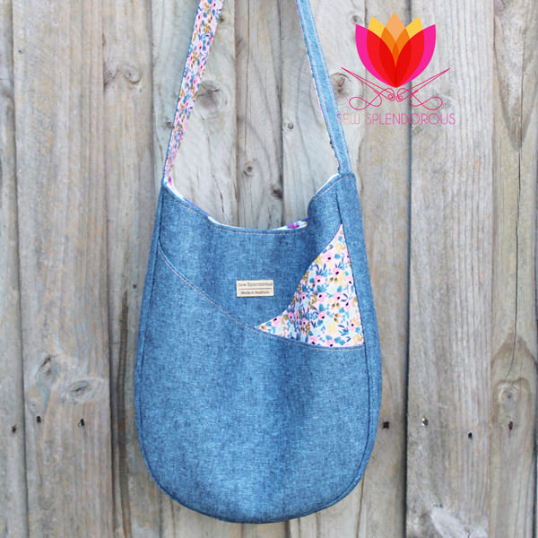 Slouchy view of the beautiful denim and floral S & S Tote - Andrie Designs