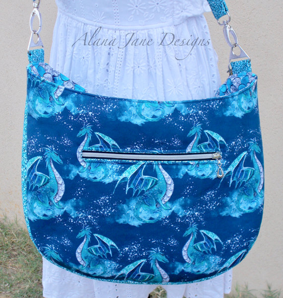 Back view of the dragons and scales for this S & S Tote - Andrie Designs