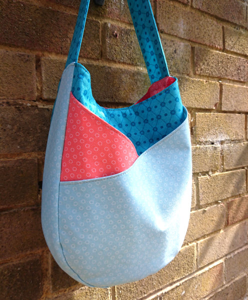 Beautiful blue and peach S & S Tote - Andrie Designs