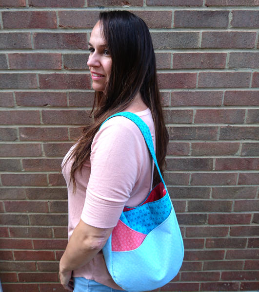 Great size for an everyday bag! Blue and peach S & S Tote - Andrie Designs