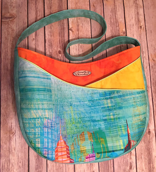 Teal green, orange and yellow S & S Tote - Andrie Designs