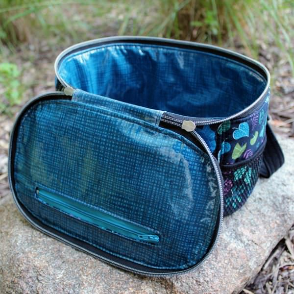 Inside view of the blues and navy Bree's Box Toiletry Caddy - Andrie Designs