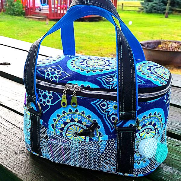 Beautiful blue and black for this Bree's Box Toiletry Caddy - Andrie Designs