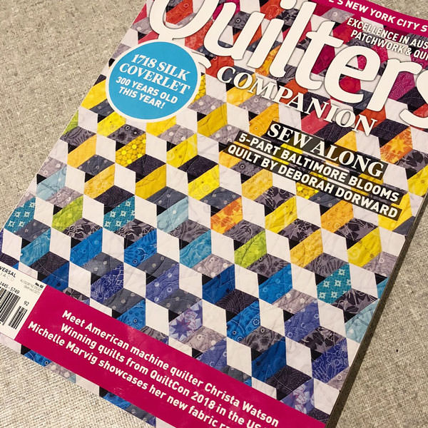 July 2018 issue of Quilters Companion Magazine - Andrie Designs
