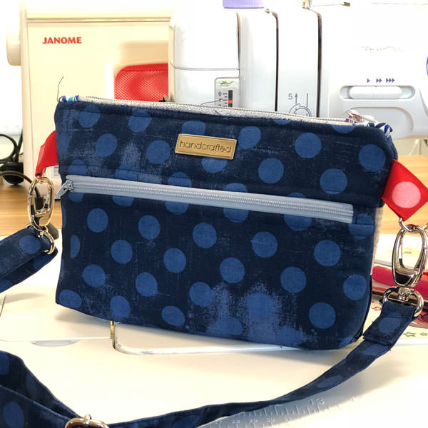 Navy spots back - Gather Me Up Clutch - Andrie Designs