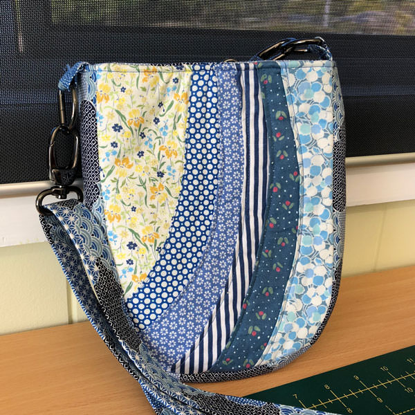 Another beautiful blue floral combination for this Mini Shades Pouch - Andrie Designs